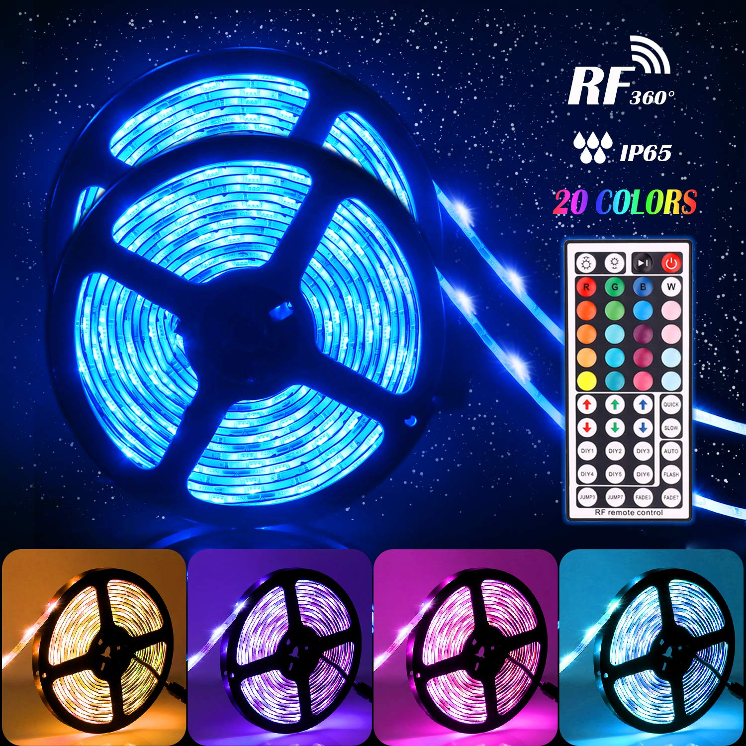 Led Light Strips,Tenmiro 32.8ft Led Strip Lights With 44key RF Remote Controller,Waterproof Color Changing RGB SMD 5050 300 LEDs Rope Lights, DC 12V5A Power Safety Decoration For Home Outdoor Lighting