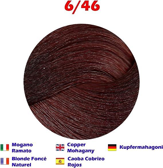 Tinte de Pelo Profesional Caoba Cobrizo Rojos Caoba con Amoníaco 6/46 Permanente 100ml Made in Italy
