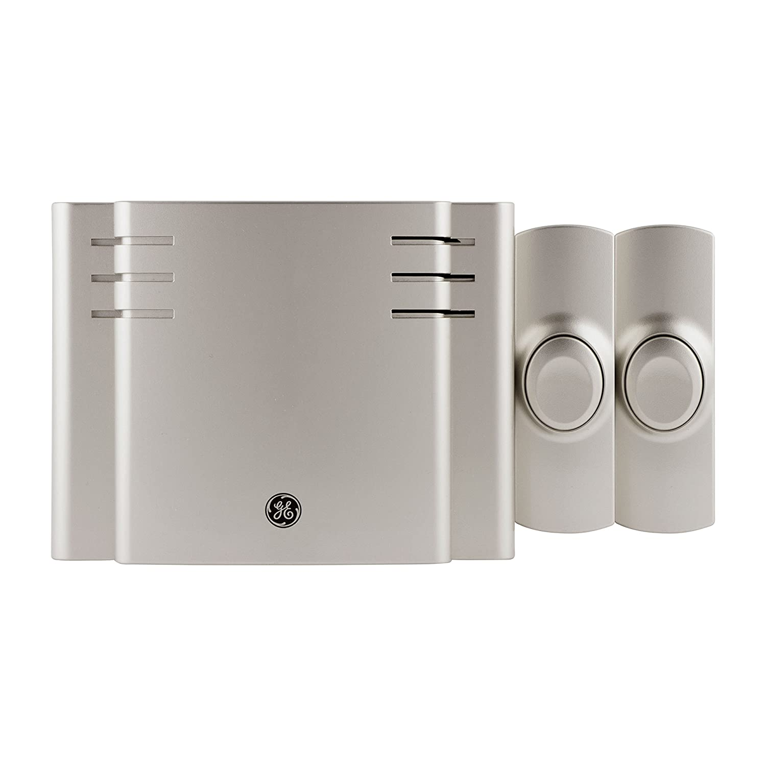 GE Wireless Doorbell Kit, 8 Melodies, 1 Receiver, 2 Push Buttons, Battery-Operated, 150 Feet Range, Satin Nickel, 30393, 3