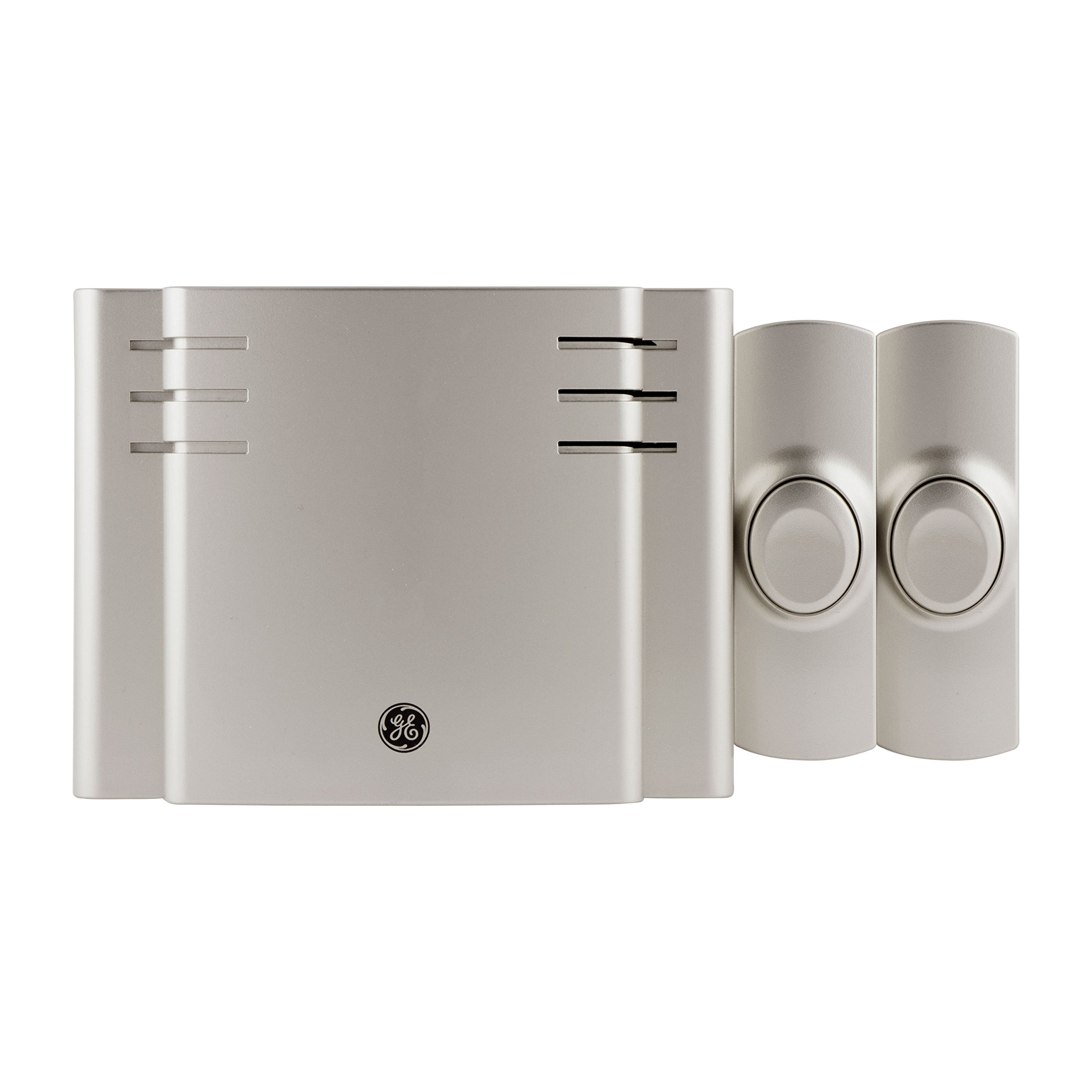 GE Wireless Doorbell Kit, 8 Melodies, 1 Receiver, 2 Push Buttons, Battery-Operated, 150 Feet Range, Satin Nickel, 30393