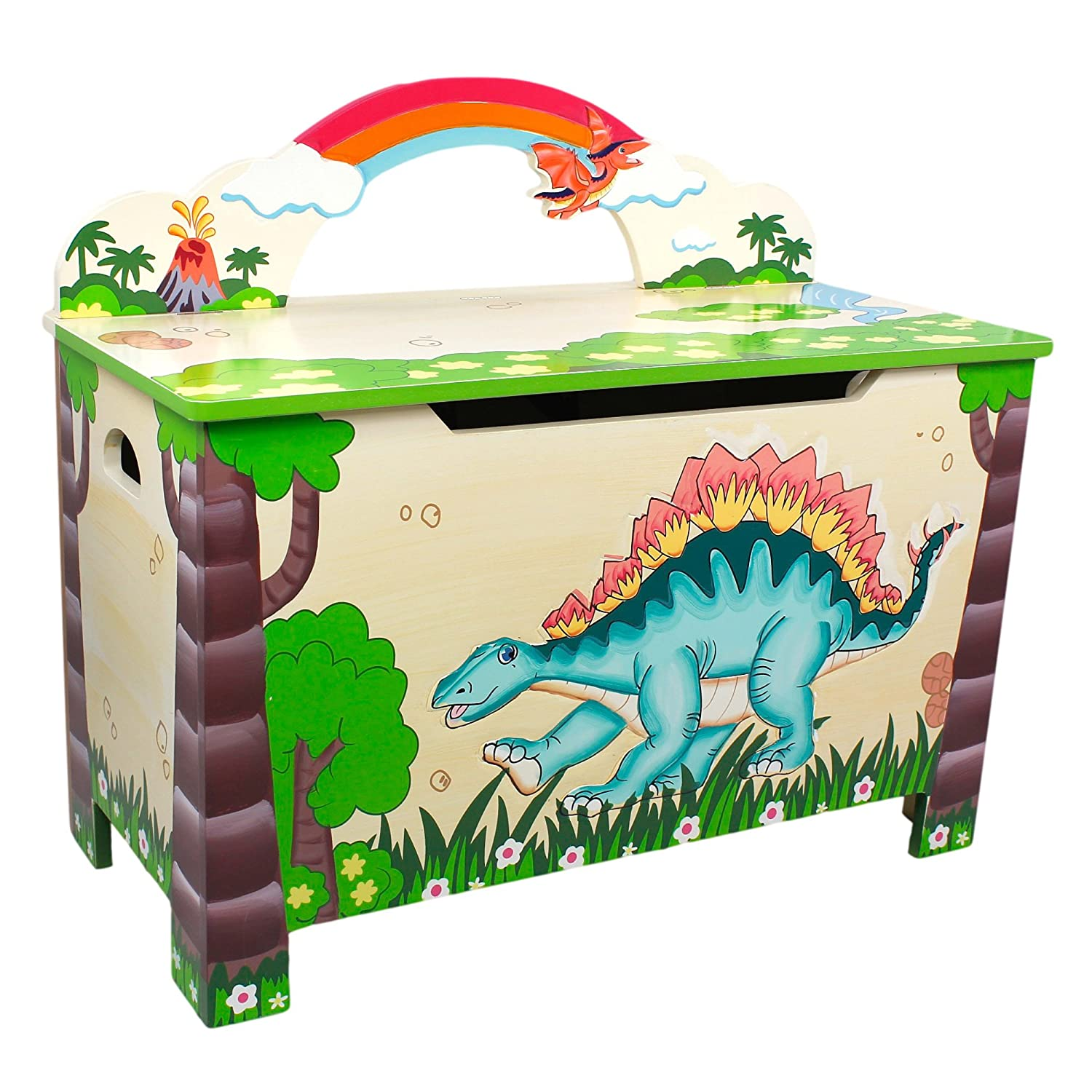 Kids wooden toy chest sunny safari - Fantasy Fields By Teamson Dinosaur Kingdom Childrens Large Wooden Storage Kids Toy Box Chest Td 0074a Amazon Co Uk Baby