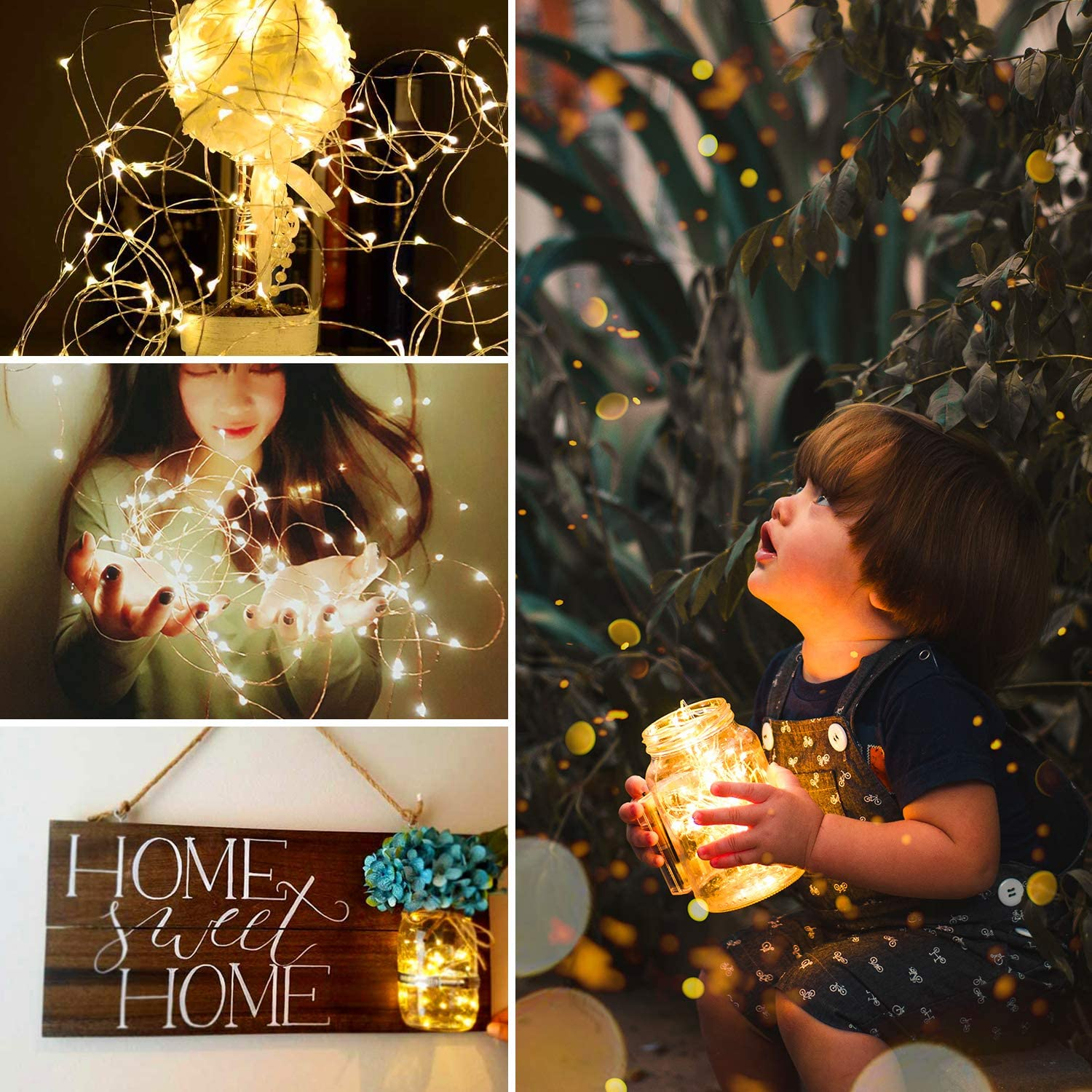Image of Fairy String lights decorated to a plant, a lady holding it in her hands, and a toddler holding a glass transparent mug with lighted fairy lights in it.
