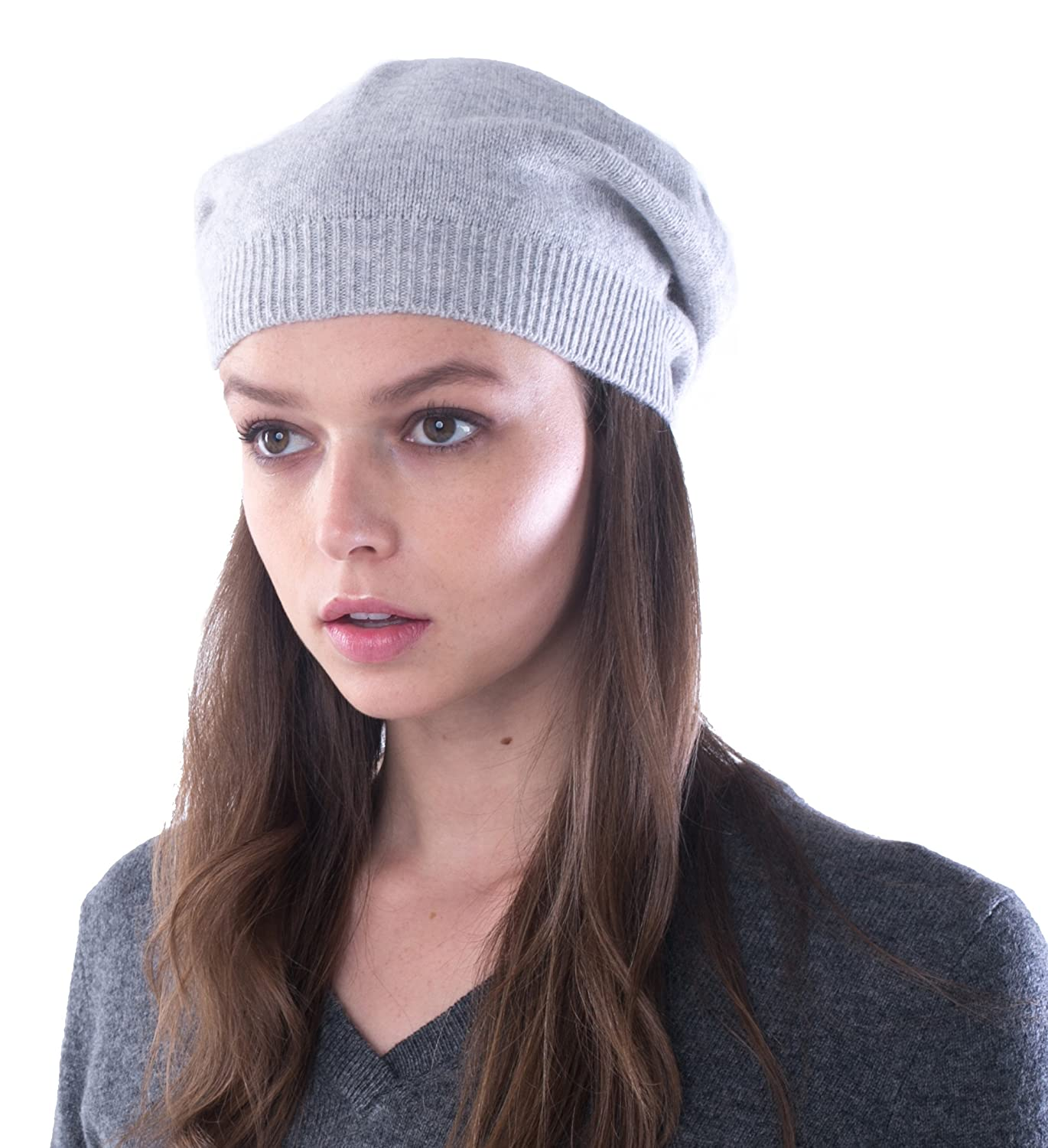cashmere 4 U 100% Pure Cashmere Knitted Beret Hat for Women HAT401