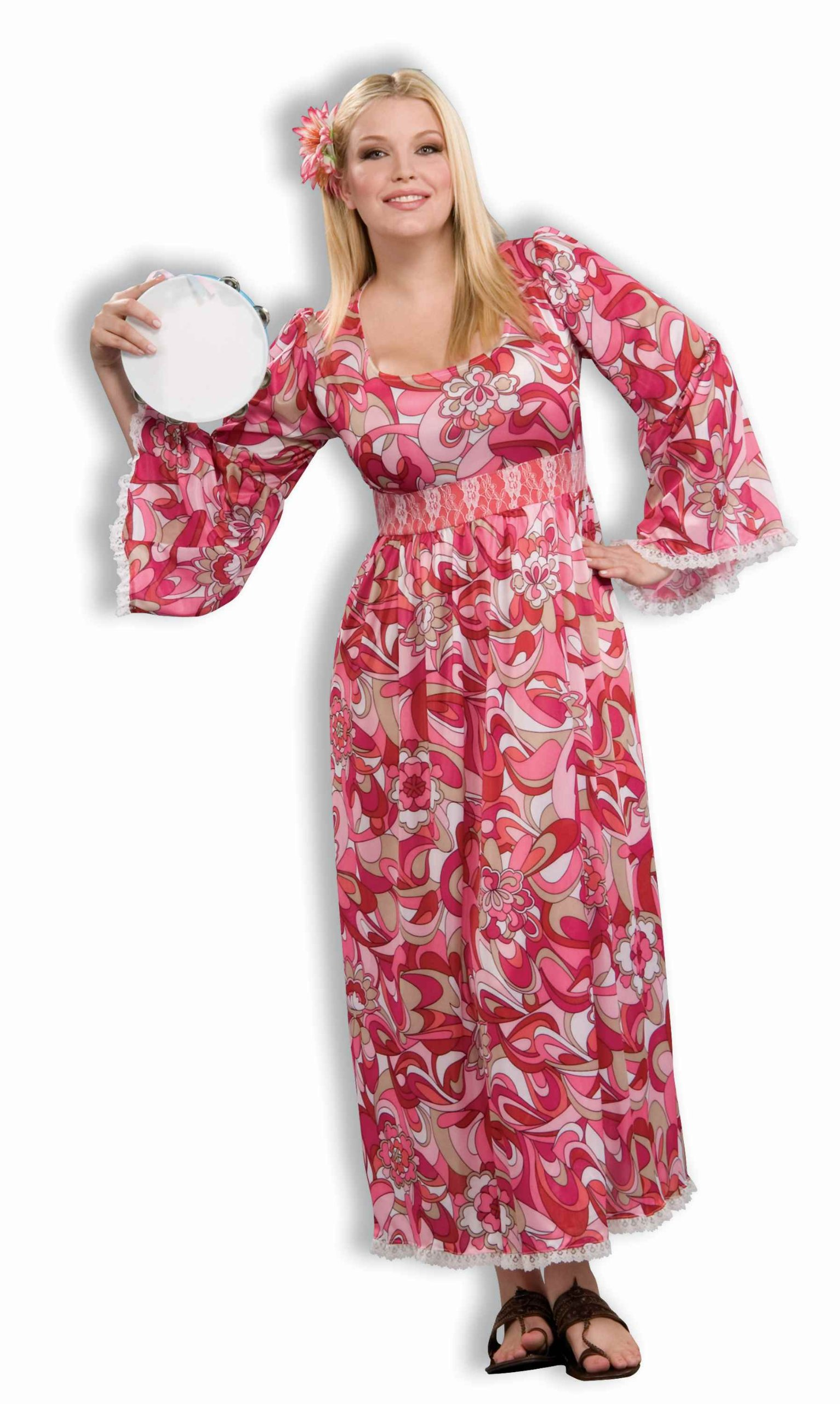 Forum Novelties Women's Plus-Size Flower Child Costume Dress, Pink/White, Plus by Forum Novelties