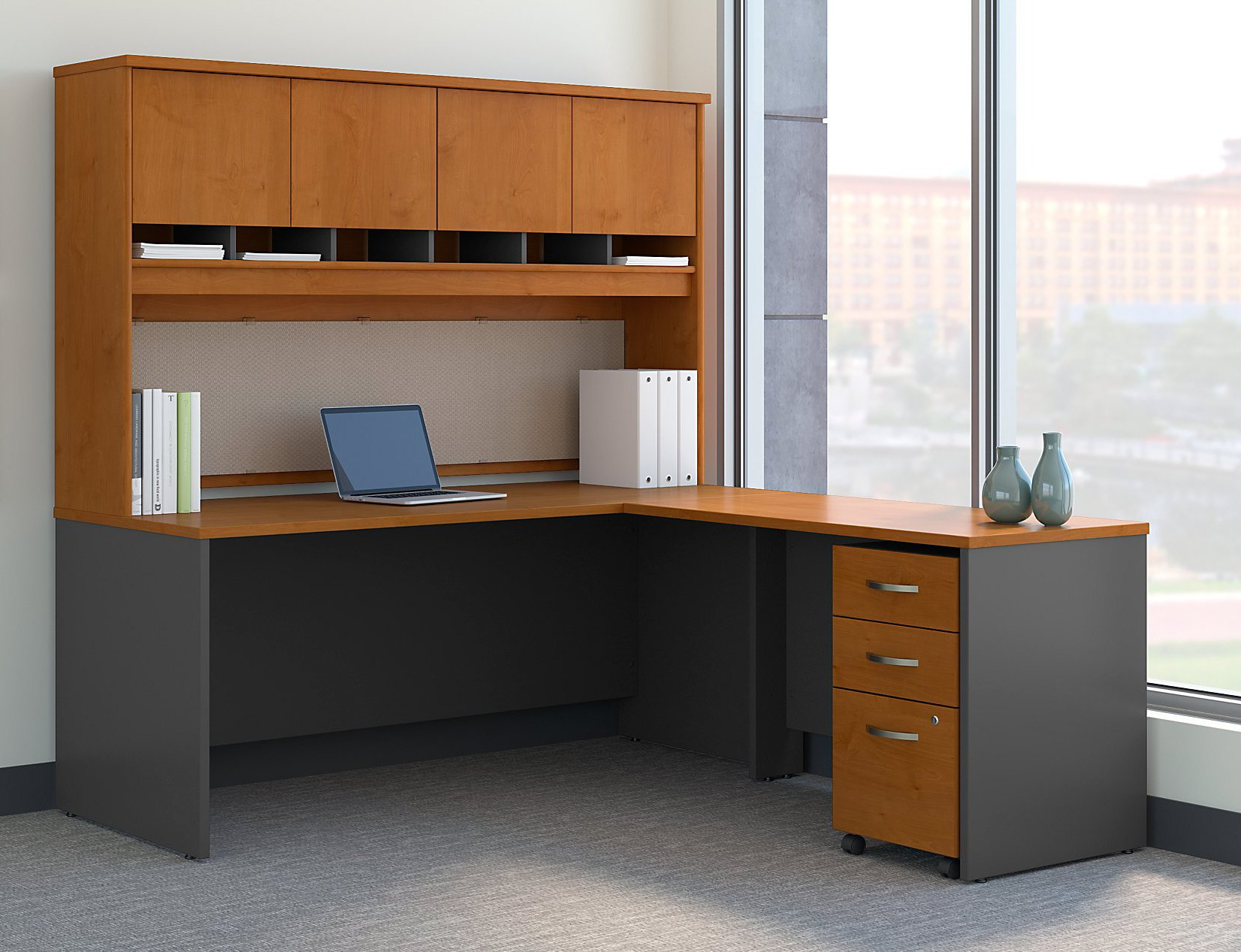 Bush Business Furniture Series C 72W L Shaped Desk with Hutch and Mobile File Cabinet in Natural Cherry