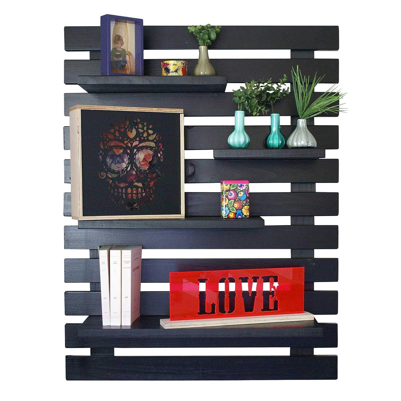 LIZA LINE Dekoratives Holz Wandregal, Bücherregal, Buch Regal, Regal-System mit 4 freihängenden Regalbrettern. Massive Nordisches Holz - 101x80x21cm (Schwarz)