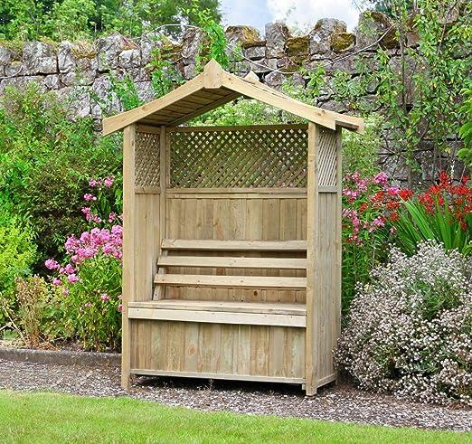 Asiento de jardín Arbour Pergola celosía madera banco de arco ...
