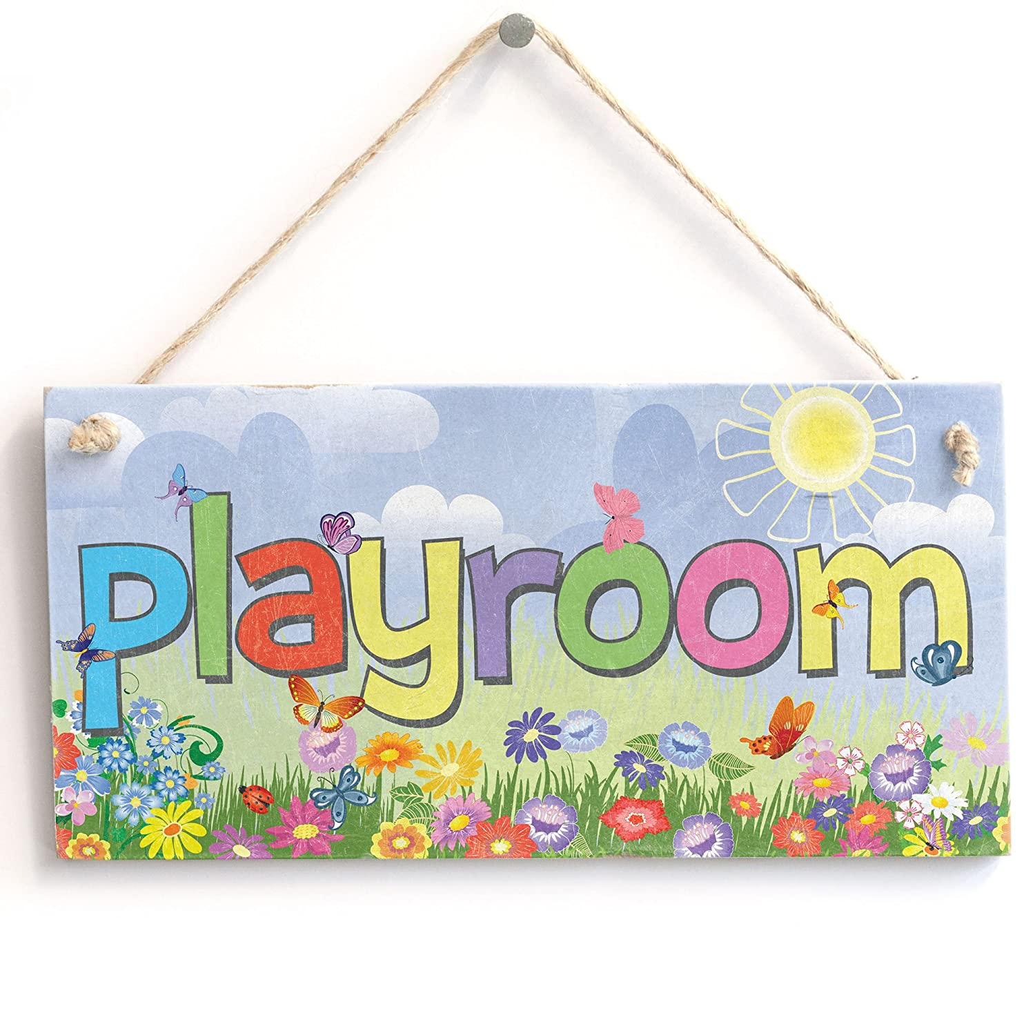 Playroom Childrens room chalkboard effect sign shabby vintage chic plaque signs
