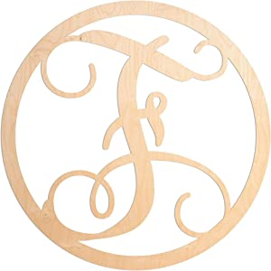UNFINISHEDWOODCO Single Letter Circle Monogram Room Décor - 18.5 Inches Tall - Unfinished Circle Vine Cursive Wood Initials for Bedroom, Wall Decor Above Baby Crib, Nursery or Teen Room - Letter F