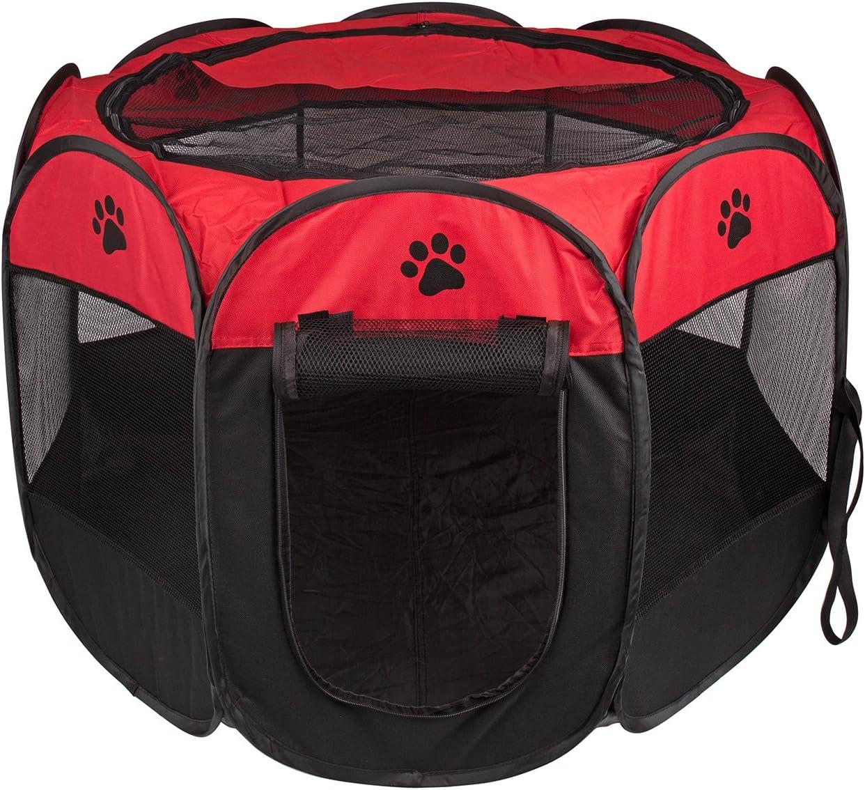 BIGWING Style Parque Mascota de Juego Entrenamiento Dormitorio Perro Gato Conejo Octágono Plegable Lavable Durable 91x 91x 58 CM, Negro y Rojo