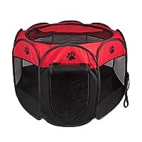 Parque Mascota de Juego Entrenamiento Dormitorio Perro Gato Conejo Octágono Plegable Lavable Durable 91x 91x 58 CM, Negro y Rojo