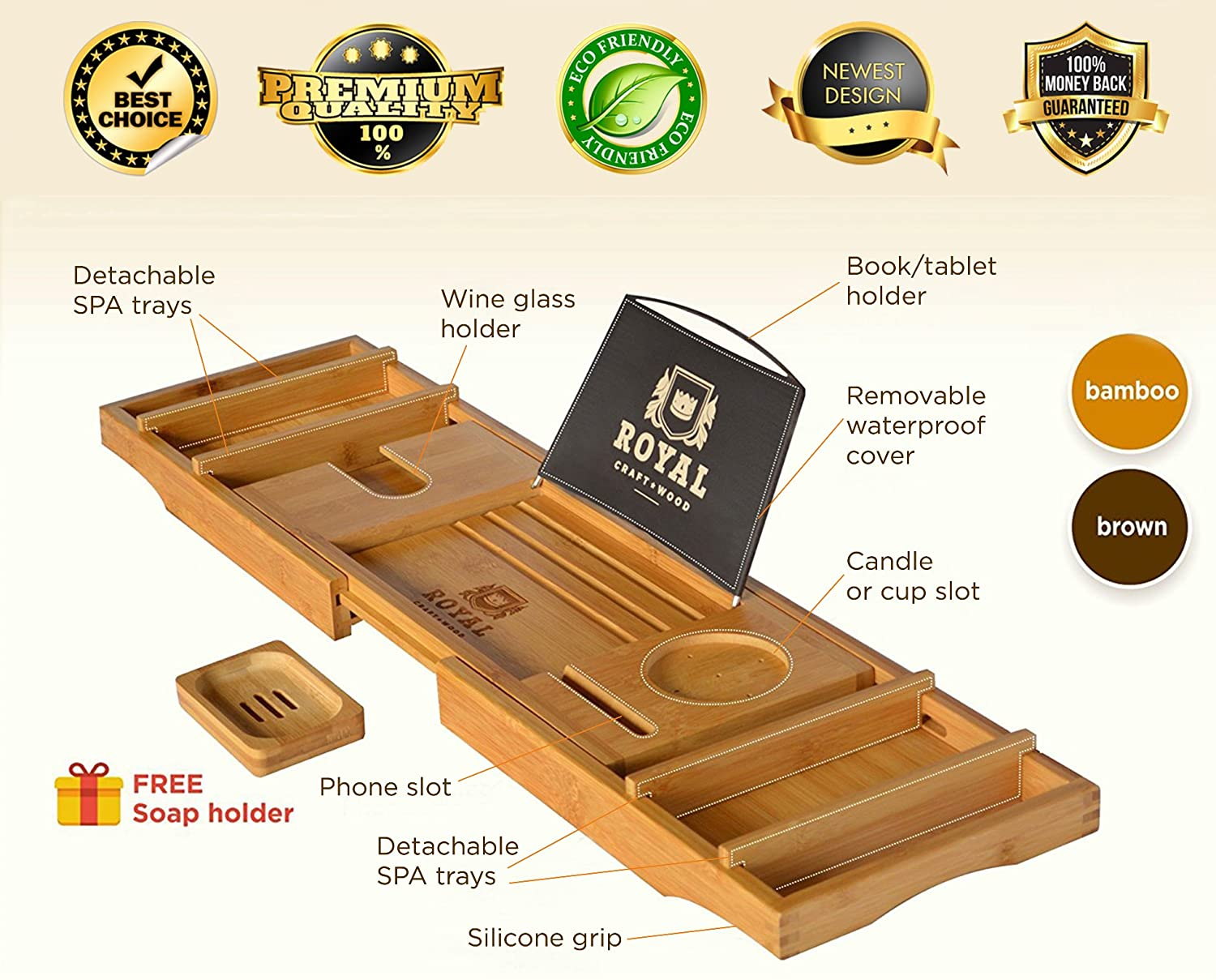 Amazon.com: Royal Craft Wood Luxury Bathtub Caddy Tray, One or Two ...