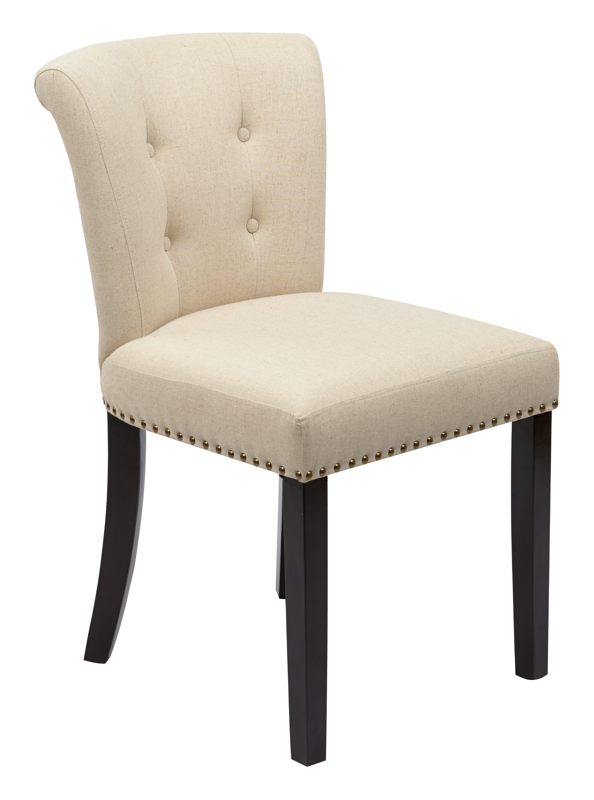 AVE SIX Kendal Tufted and Inner Spring Chair with Nailhead Detail and Solid Wood Legs, Linen Fabric