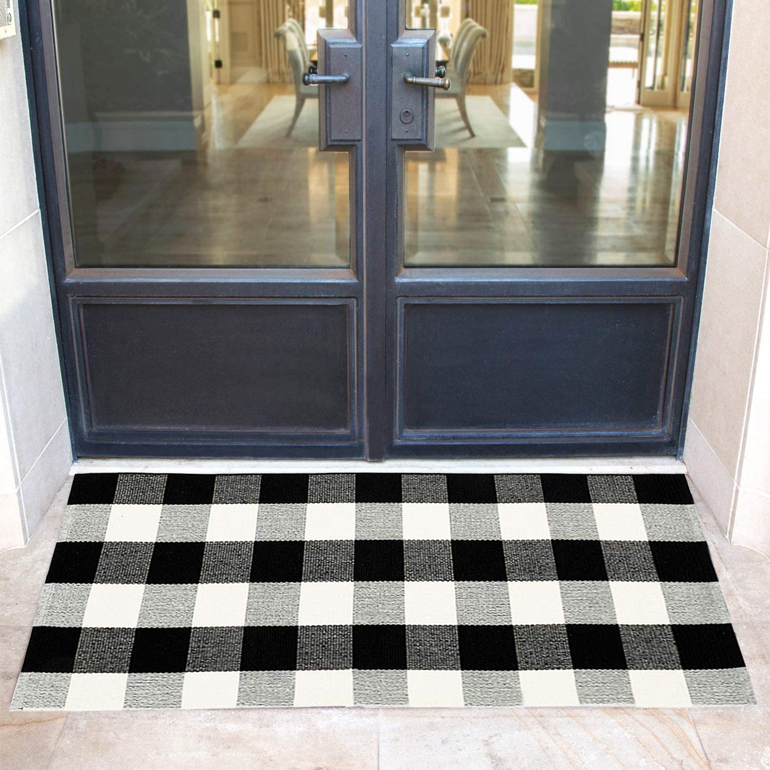 Winwinplus Buffalo Plaid Check Rug 27.5 x 43.3 Inches Washable Woven Outdoor/Indoor Rugs for Welcome Doormat Layered Door Mats Porch/Farmhouse Decor Rug