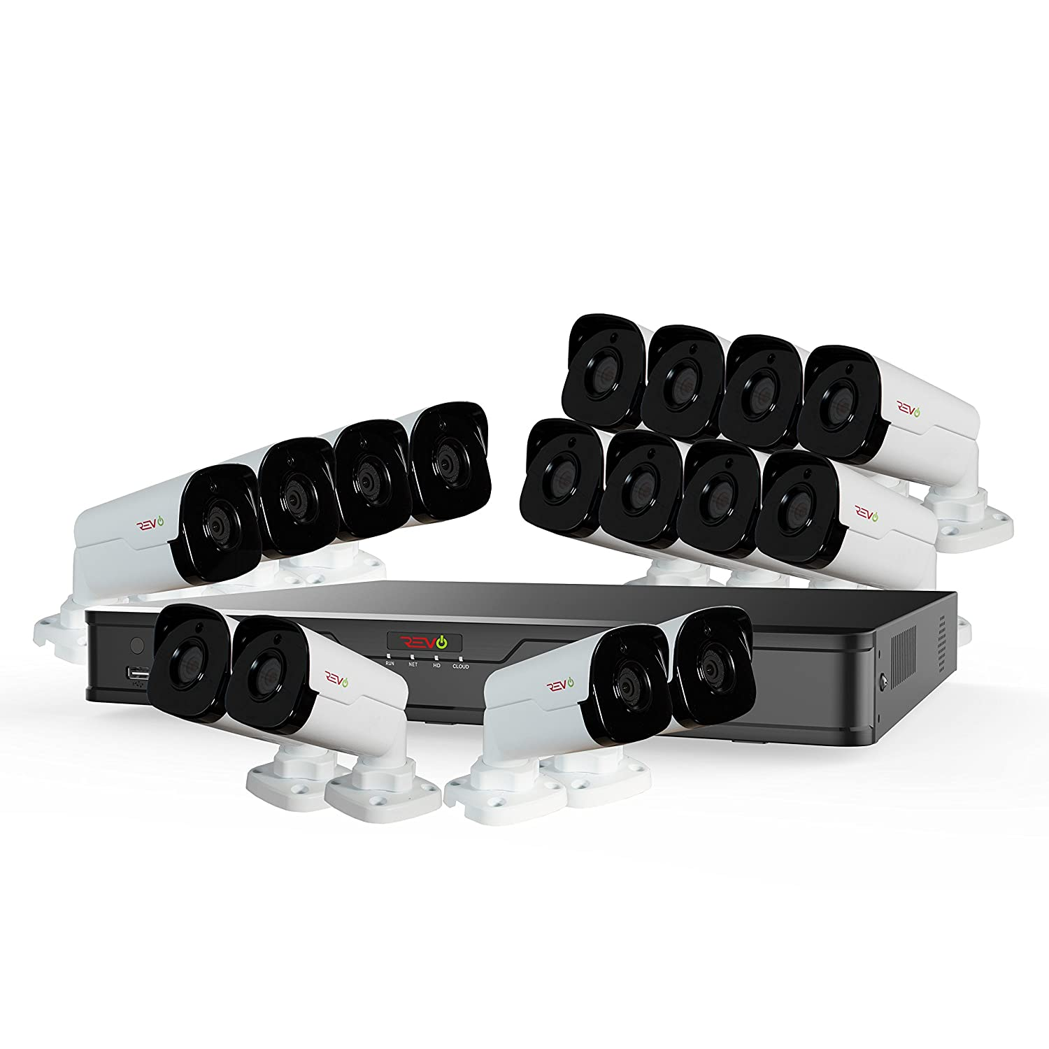 Revo America Ultra 16Ch. 4TB HDD 4K IP NVR Surveillance System – Fixed Lens 16 x 4MP Audio IP Bullet Cameras Built-in-MIC – Remote Access via Smart Phone, Tablet, PC MAC