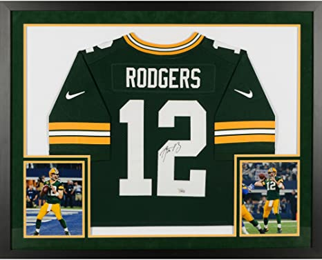 4da96da5c Aaron Rodgers Green Bay Packers SM Deluxe Framed Autographed Nike Green  Elite Jersey - Fanatics Authentic