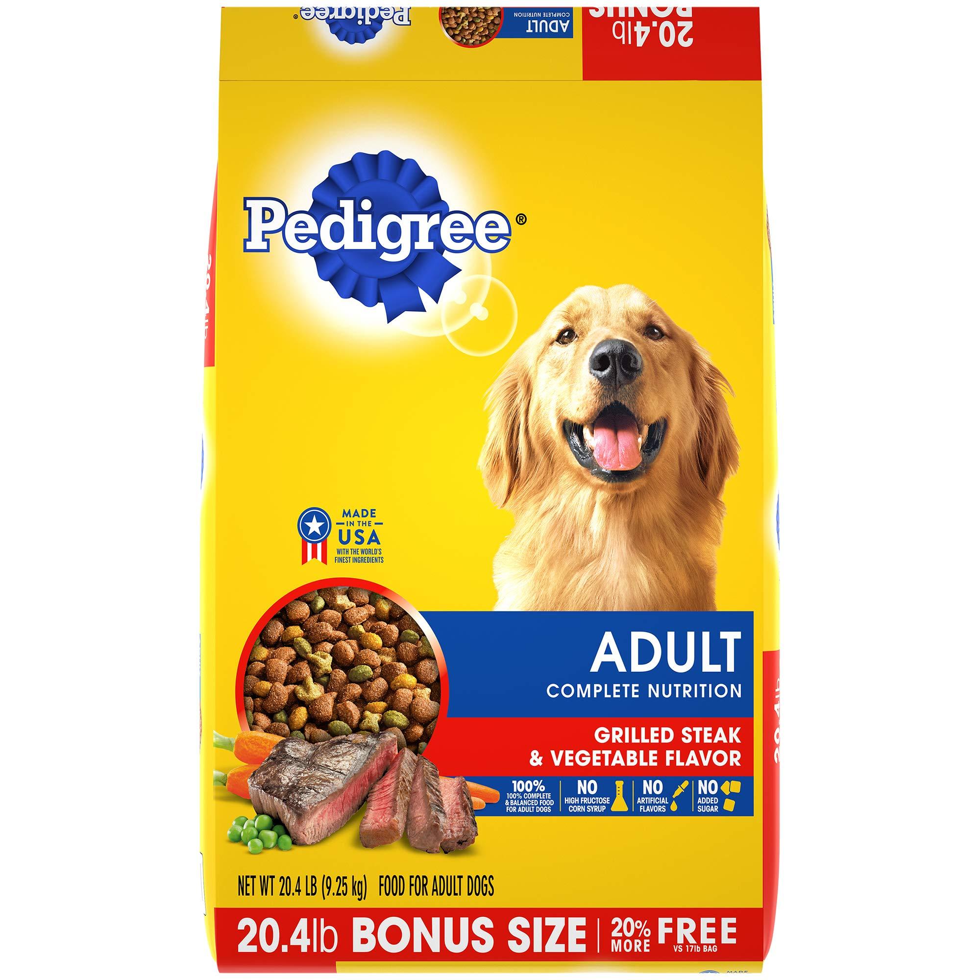 Pedigree Complete Nutrition Adult Dry Dog Food Grilled Steak & Vegetable Flavor, 20.4 Lb. Bag