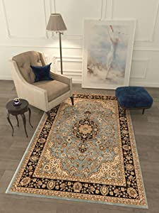 Persian Classic Light Blue 6'7'' x 9'6'' Area Rug Oriental Floral Motif Detailed Classic Pattern Antique Living Dining Room Bedroom Hallway Office Carpet Stain Resistant Traditional Soft Plush Quality