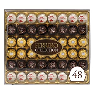 Ferrero Rocher Collection, Fine Hazelnut Milk Chocolates, 48 Count Gift Box, Assorted Coconut Candy and Chocolates, Perfect Easter Egg and Basket Stuffers