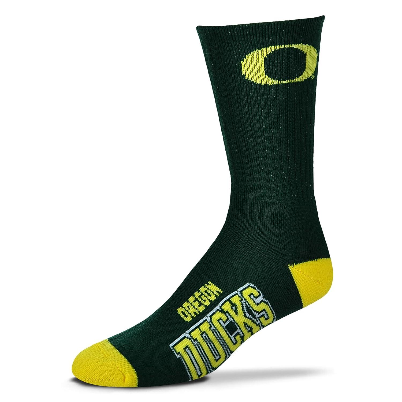 Oregon Ducks Deuce Crew Socks Mens Size Large 10-13 For Bare Feet