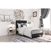 DHP Janford Upholstered Bed with Chic Design, Twin, Black Faux Leather