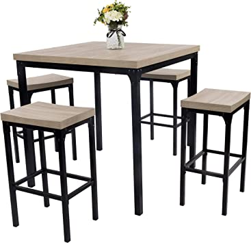 Dporticus 5-Piece Counter Height Square Dining Set Wooden Country Style  Kitchen Table and Chairs with Metal Legs,Warm in White