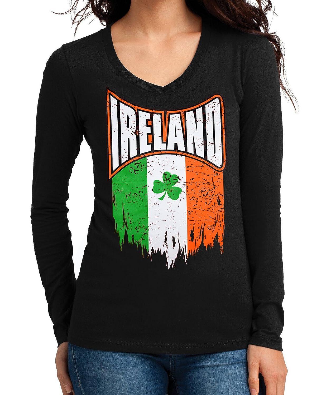 Amazon Juniors Shredded Ireland Clover Flag Tee Black Long