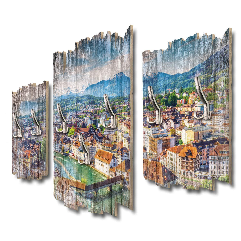 Kreative Feder Altstadt Luzern Designer Wandgarderobe Flurgarderobe Wandpaneele 95 x 60 cm aus MDF DTGH040