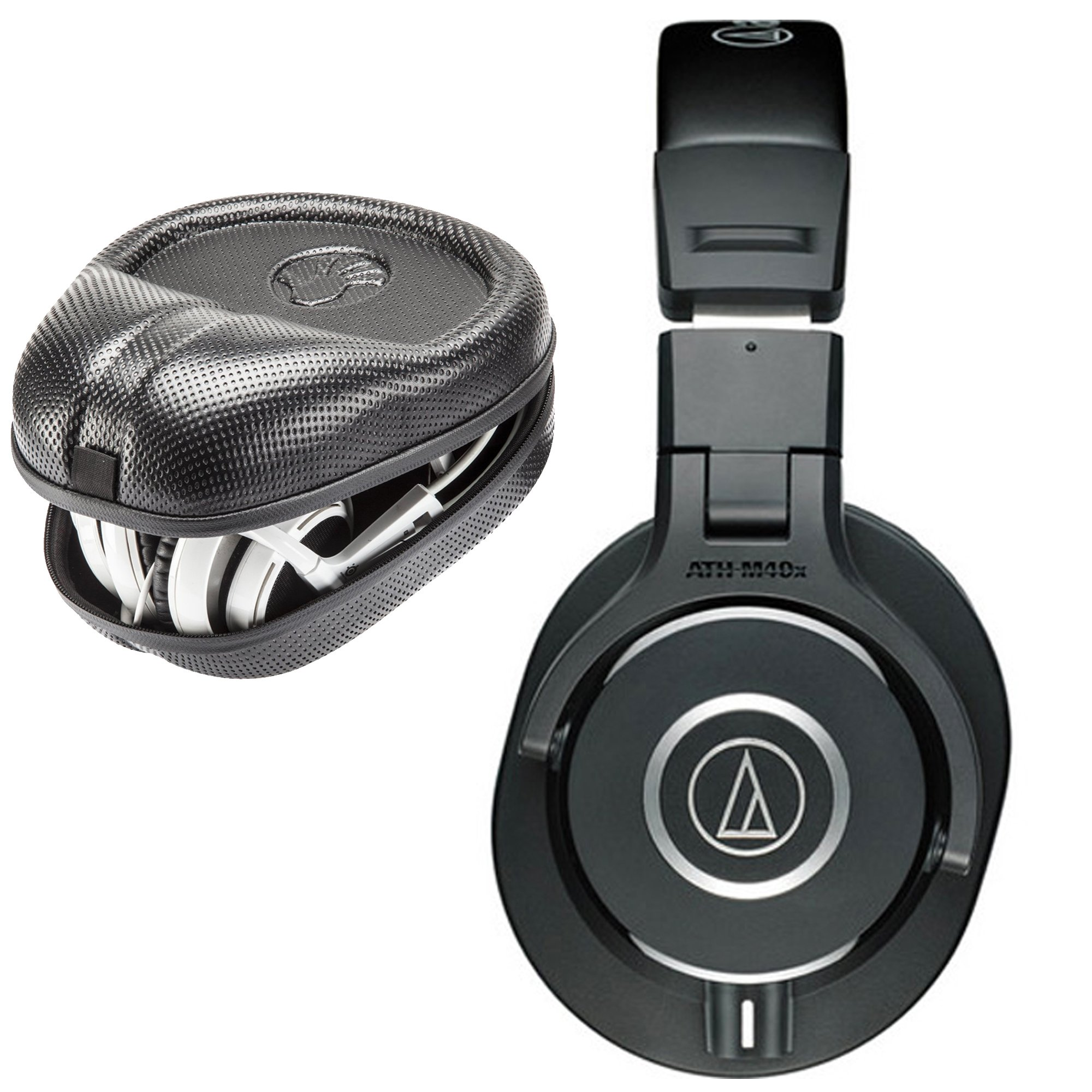 Audio-Technica ATH-M40x Monitor Headphones with SLAPPA SL-HP-07 Full Sized HardBody PRO Headphone Case
