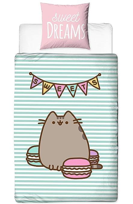 pusheen Juego de cama ☆ Sweet Dreams · Felicitaciones gato/dibujos animados Cat con Reversible Diseño · Chica cama · Color Rosa, Mint · 2 piezas - ...