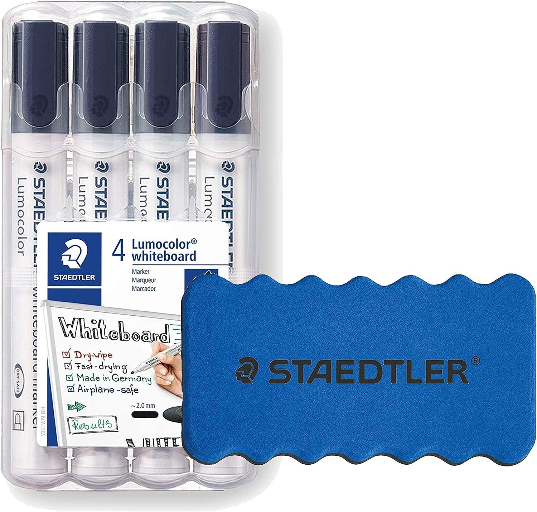 + L/öscher Staedtler Lumocolor 351 WP4-9X Whiteboard-Marker Schwarz