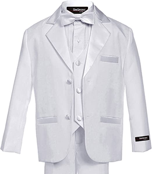 Gino Giovanni Usher Tuxedo Suit Boy Black with White Vest and Tie From Baby to Teen