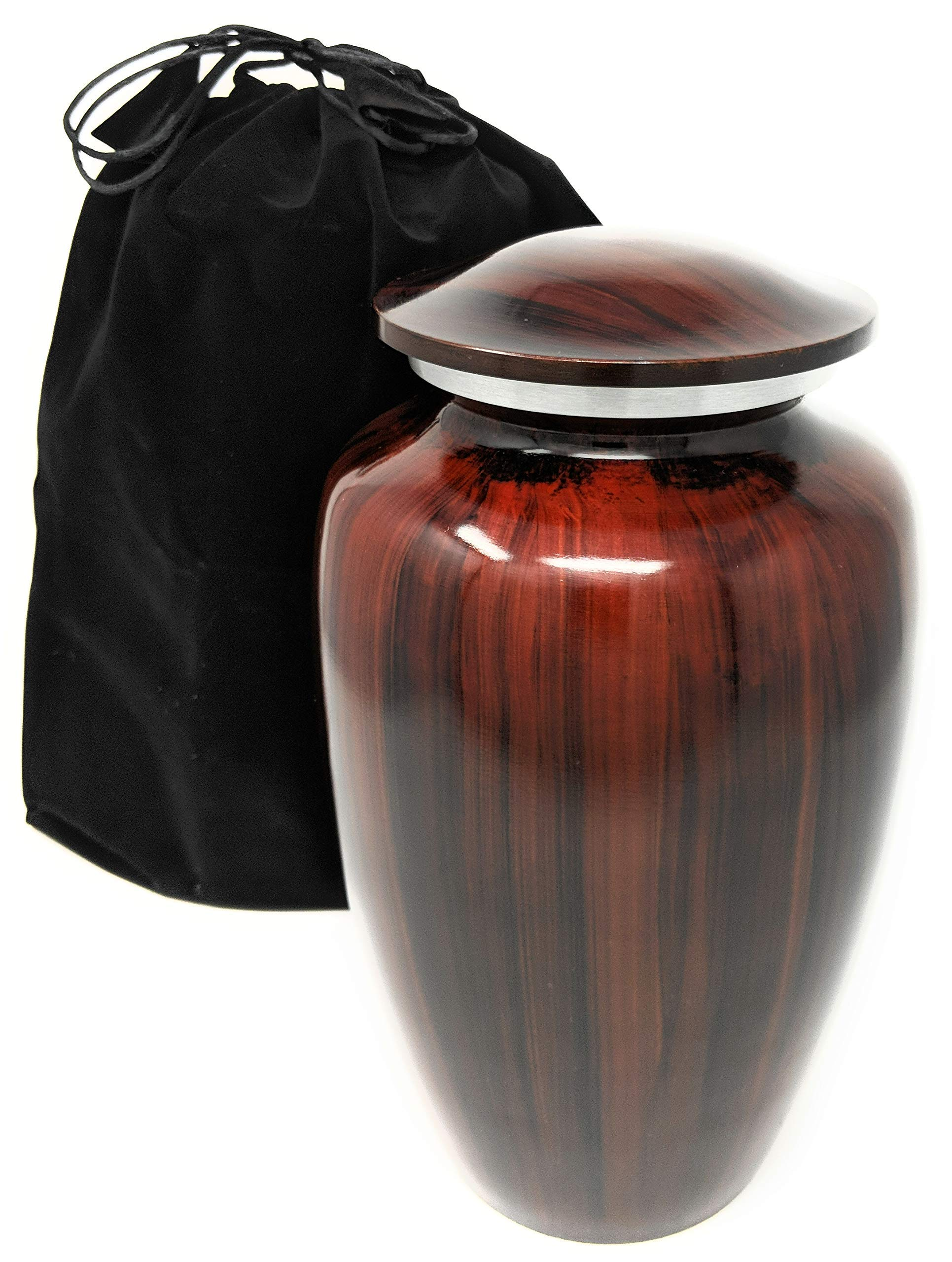 Cremation Urn with Lid for Adult Human Ashes | Brown Woodgrain Vase to Hold Your Loved One | Beautiful Classic Keepsake | Includes Free Accessories