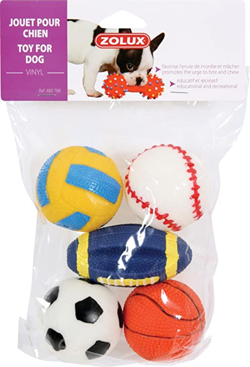 Zolux Pack de 5 Pelotas Juguetes de Vinilo para Perro 6 cm: Amazon.es: Productos para mascotas