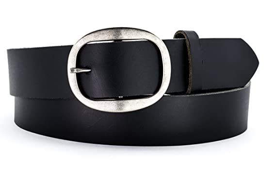 bd179f8ab26 Naleeni Womens Black Leather Belt with Oval Buckle Antique Nickel 1 1 2 inch  Wide
