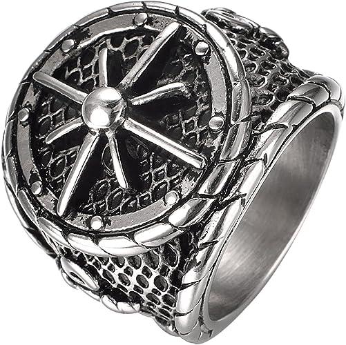 Anchor Ring Vintage Dull Polishing Black Stainless Steel Men/'s Biker Jewelry