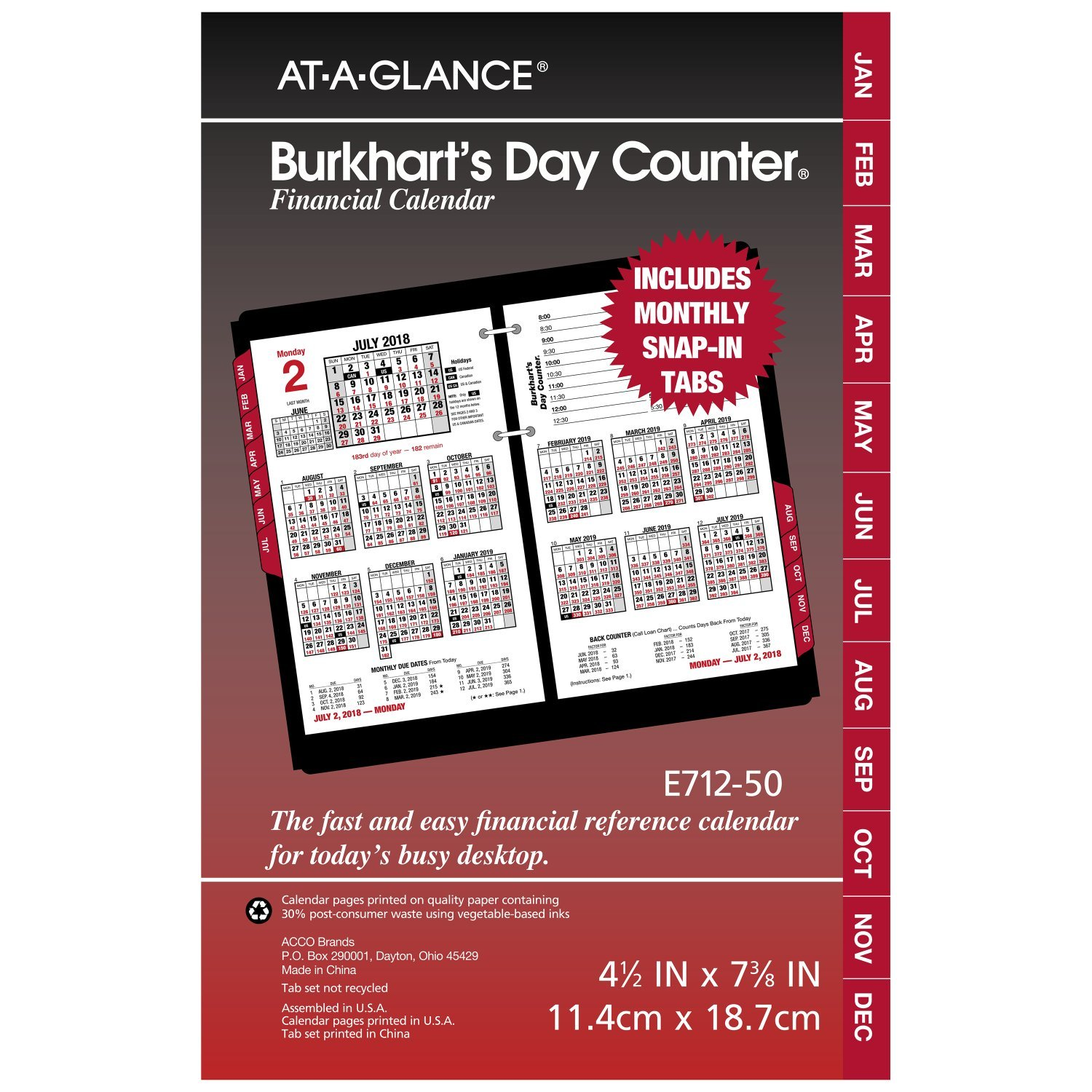 AT-A-GLANCE Daily Desk Calendar Refill, January 2018 - December 2018, 4-1/2'' x 7-3/8'', Burkhart's Day Counter (E71250) by AT-A-GLANCE