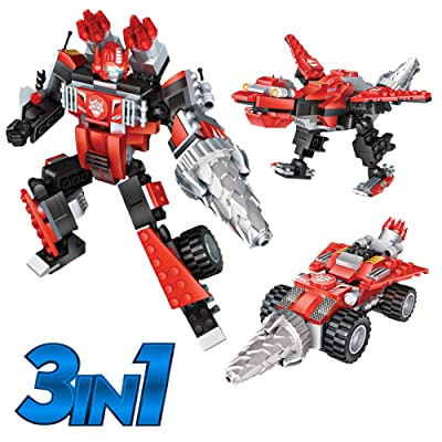 Robot STEM Toy Creative Set| 3 in 1 Transforming Action Rescue Figures Bots Construction Building Toys for Boys Ages 6-12 Years Old | Best Toy Gift Idea for Kids (Red): Toys & Games