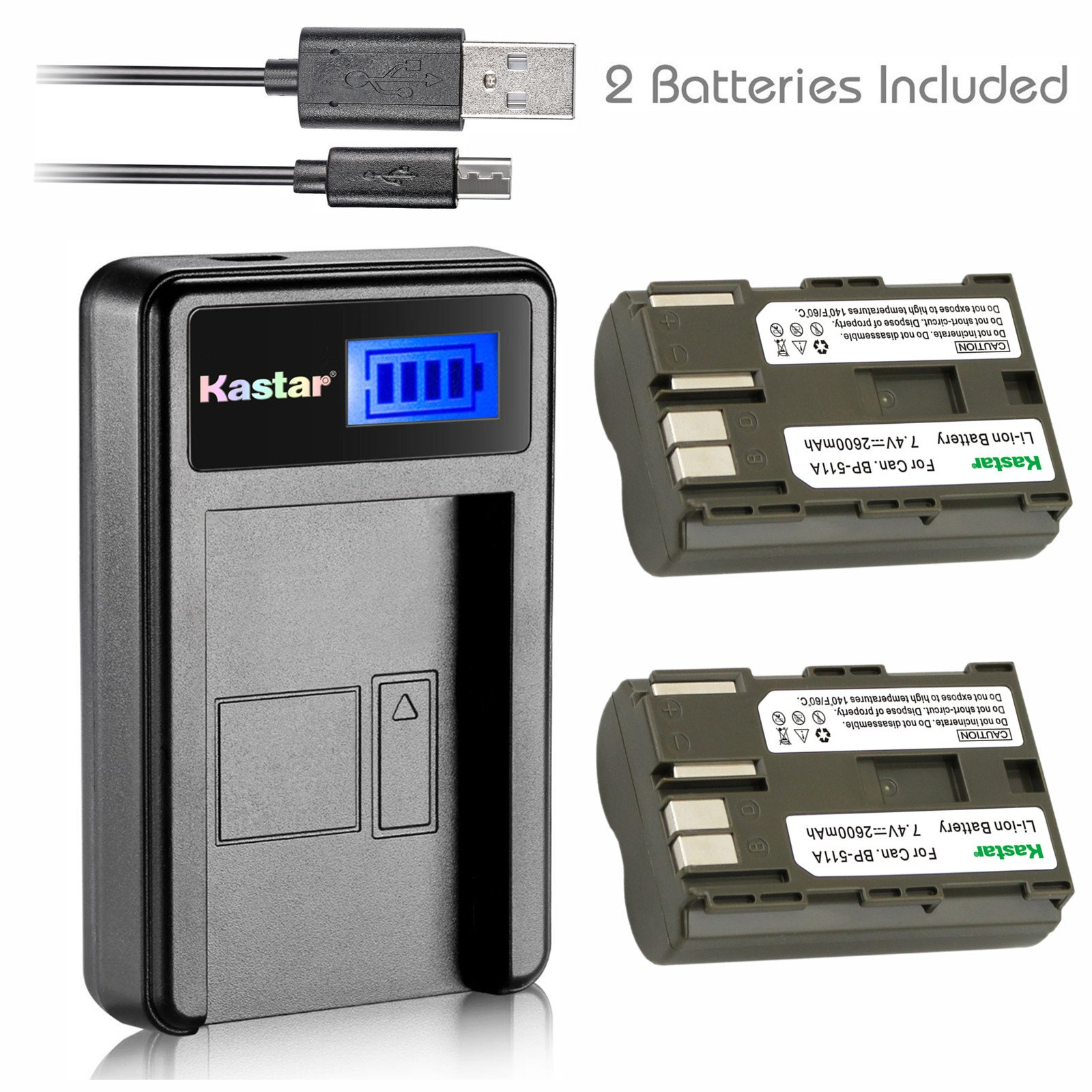 Kastar Battery (X2) & LCD Slim USB Charger for Canon BP-511 BP-511A and EOS 5D 10D 20D 30D 40D 50D Digital Rebel 1D D60 300D D30 Kiss Powershot G5 Pro 1 G2 G3 G6 G1 Pro90 Optura 20, Grip BG-E2N by Kastar (Image #1)