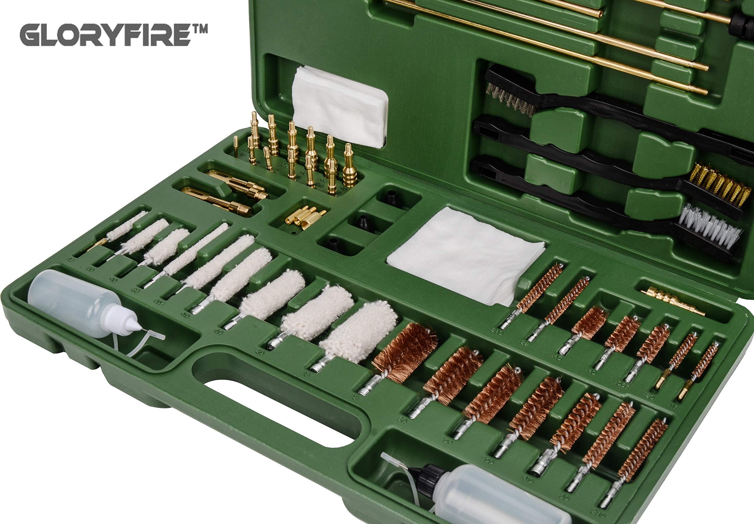 GLORYFIRE Universal Gun Cleaning Kit Hunting Rilfe Handgun Shot Gun Cleaning Kit for All Guns with Case Travel Size Portable Metal Brushes (Green 2) by GLORYFIRE (Image #8)