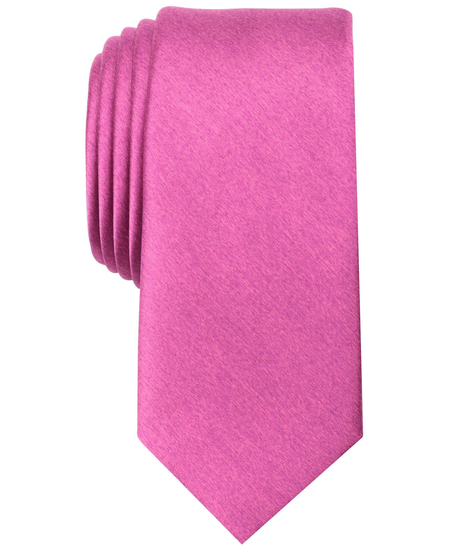 Original Penguin Men's Solid Satin Super Slim Tie, Pink, One Size