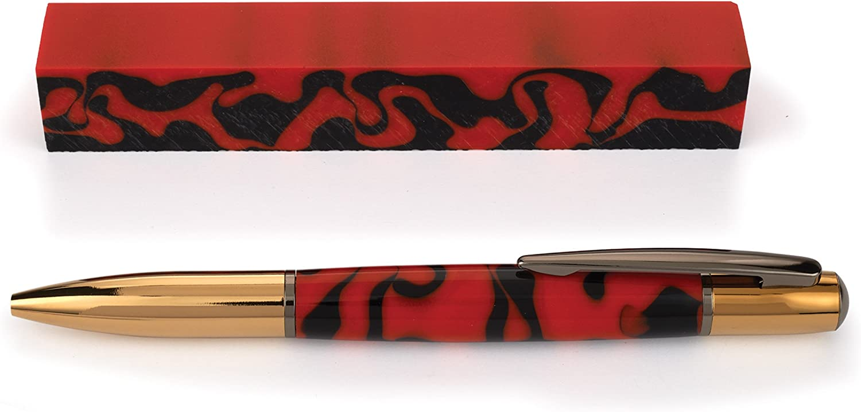 ", 1 pc Orange Mesh Acrylic Pen Blank 3//4/""sq x 5/"""