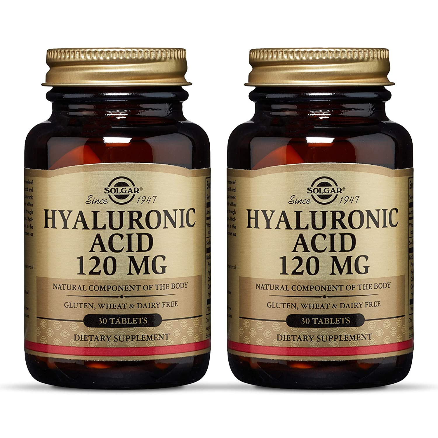 Solgar Hyaluronic Acid 120 mg, 30 Tablets - Pack of 2 - Supports Hair, Skin & Nails - Contains Hydrolyzed Collagen Type 2 & Chondroitin - Non-GMO, Gluten Free, Dairy Free - 60 Total Servings