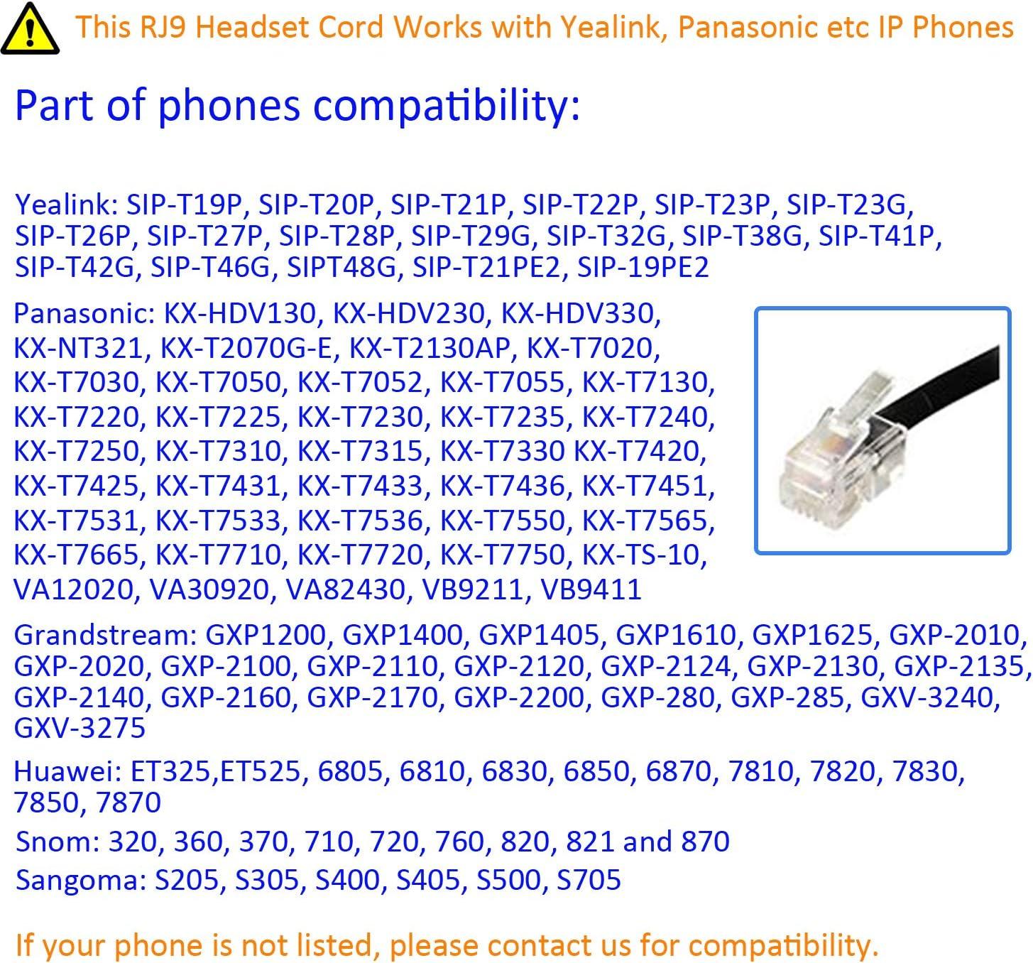 Plantronics U10P-S Coiled Cable for Yealink SNOM Huawei Avaya Panasonic /& Cisco