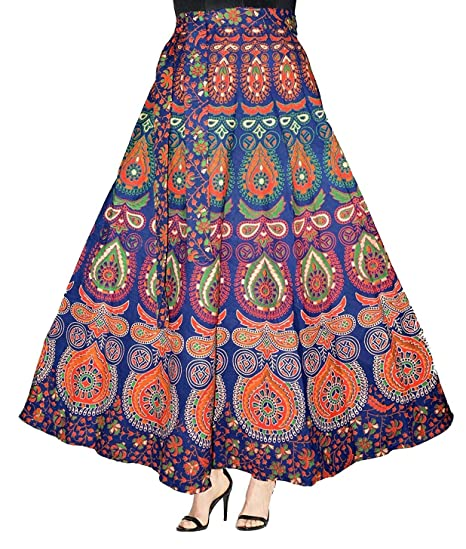 79dd7daaca Image Unavailable. Image not available for. Colour: Eshopitude graceful multi  color jaipuri print wrap around long skirt ...