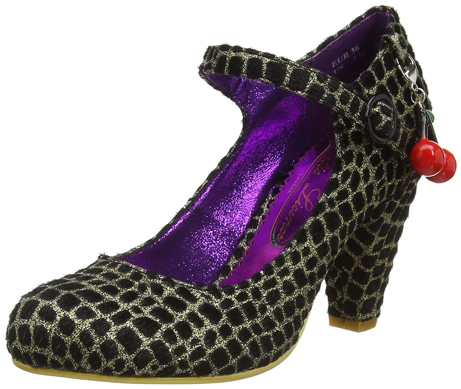 Poetic Licence by Irregular Choice The Right Stripes, Mary Jane DonnaOro (Gold/Black)