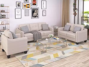 GAOPAN 3-Piece Living Room Set, Sofa, Loveseat and Armchair with Rivet On Arm Tufted Back Cushions,Home Sectional Couches Furniture,Beige