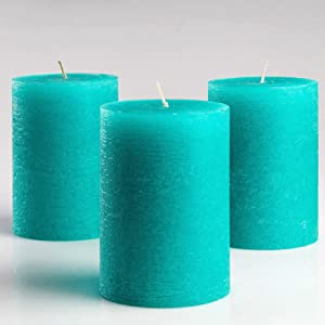 "Melt Candle Company Set of 3 Turquoise/Teal Pillar Candles 3"" x 4"" Unscented Fragrance-Free for Weddings, Church, Home Decoration, Restaurants, Spa, Smokeless Cotton Wick"
