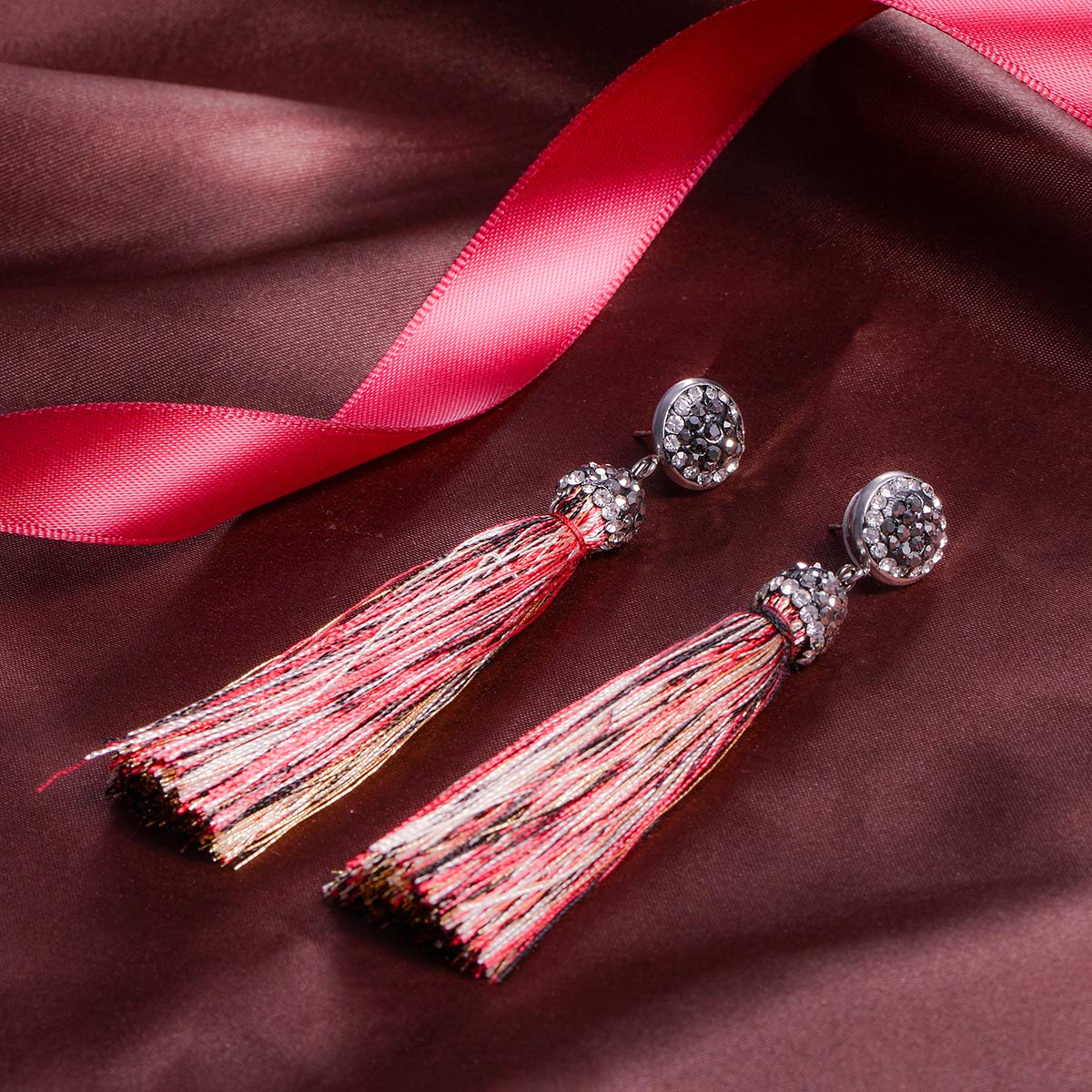 HOUSWEETY Alloy Red Temperament Long Tassel Earrings with Rhinestones