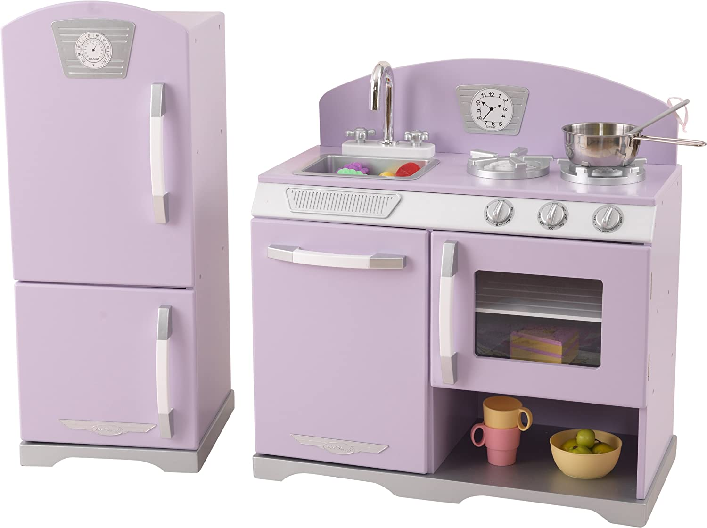 Amazon Com Kidkraft Lavender Retro Kitchen Refrigerator Toys Games
